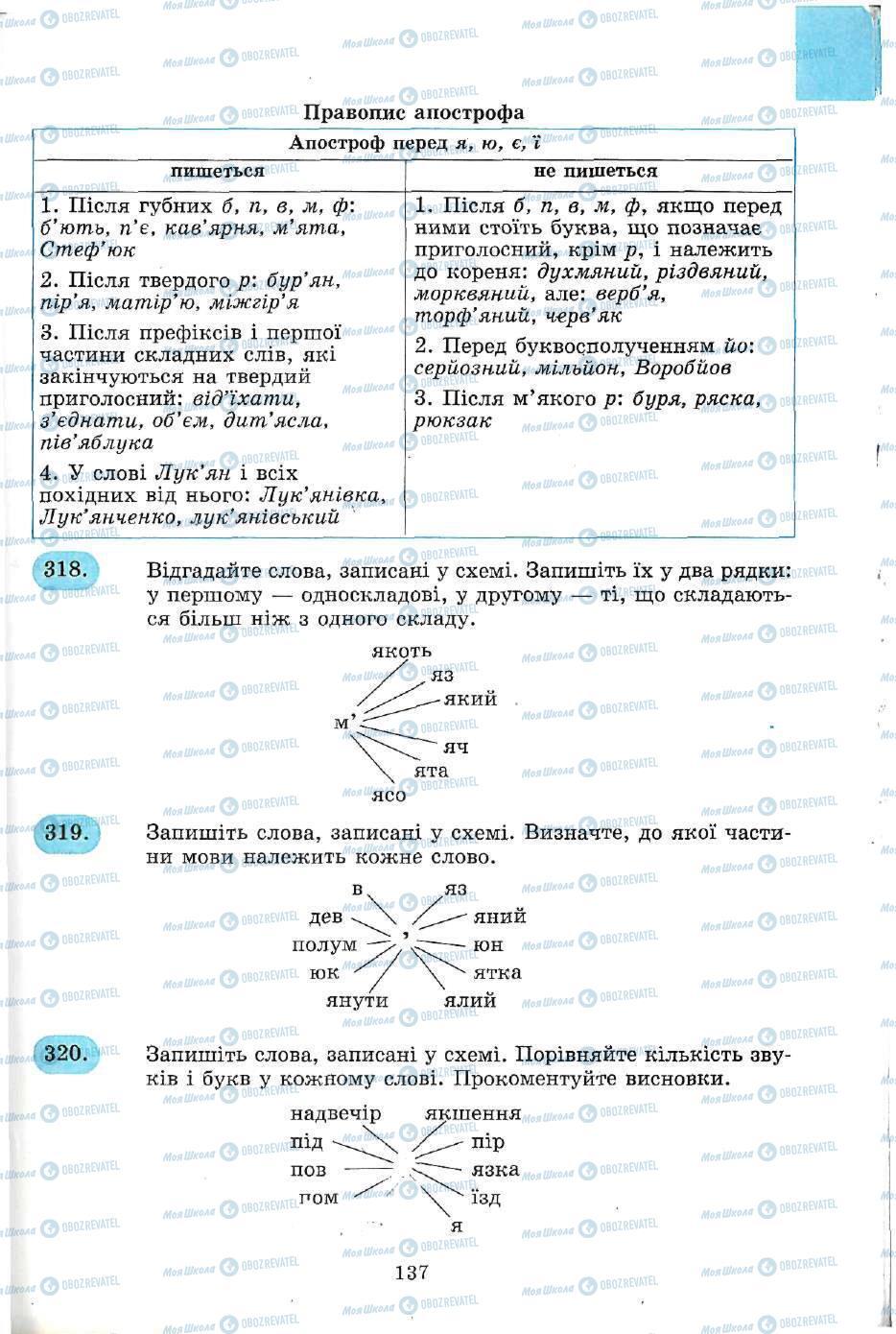 Підручники Українська мова 5 клас сторінка 137