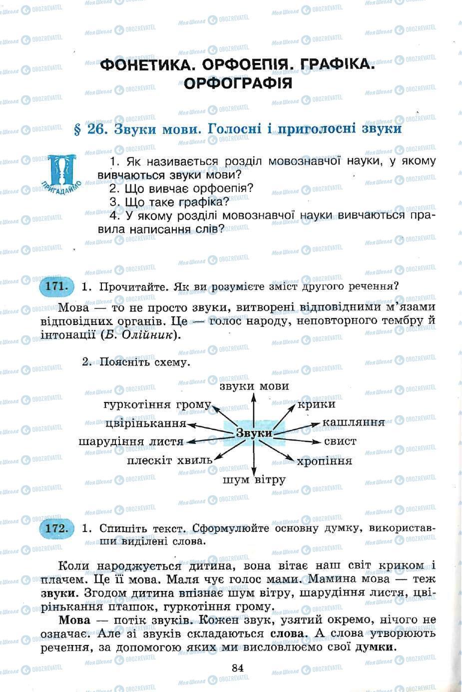 Підручники Українська мова 5 клас сторінка 84
