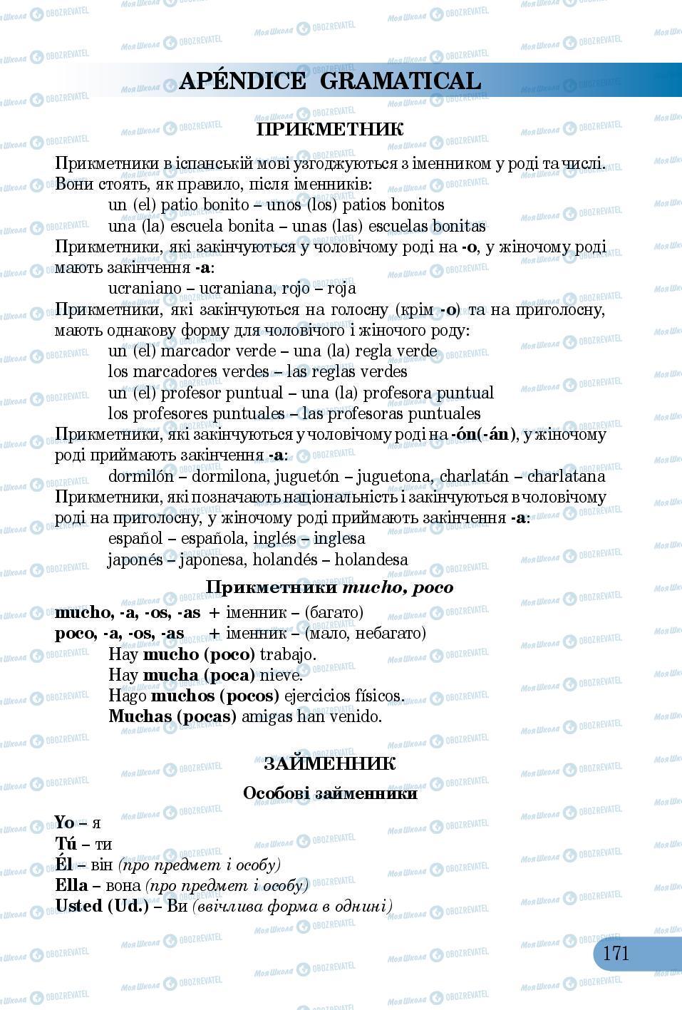 Підручники Іспанська мова 5 клас сторінка 171