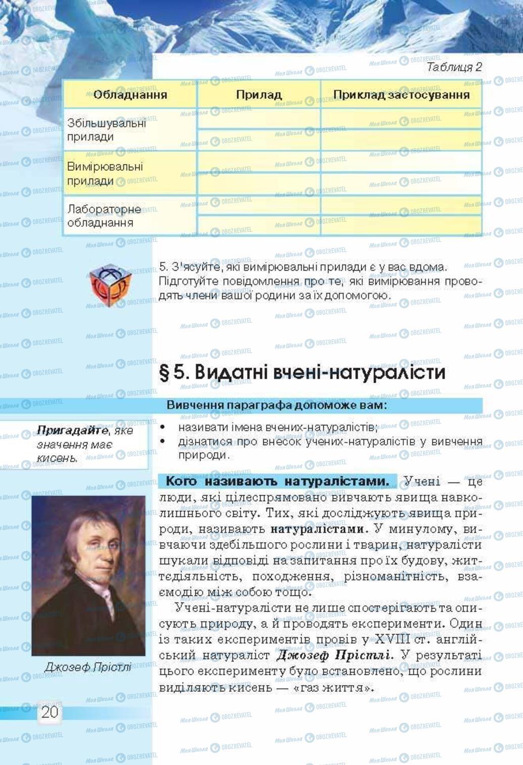 Підручники Природознавство 5 клас сторінка 20