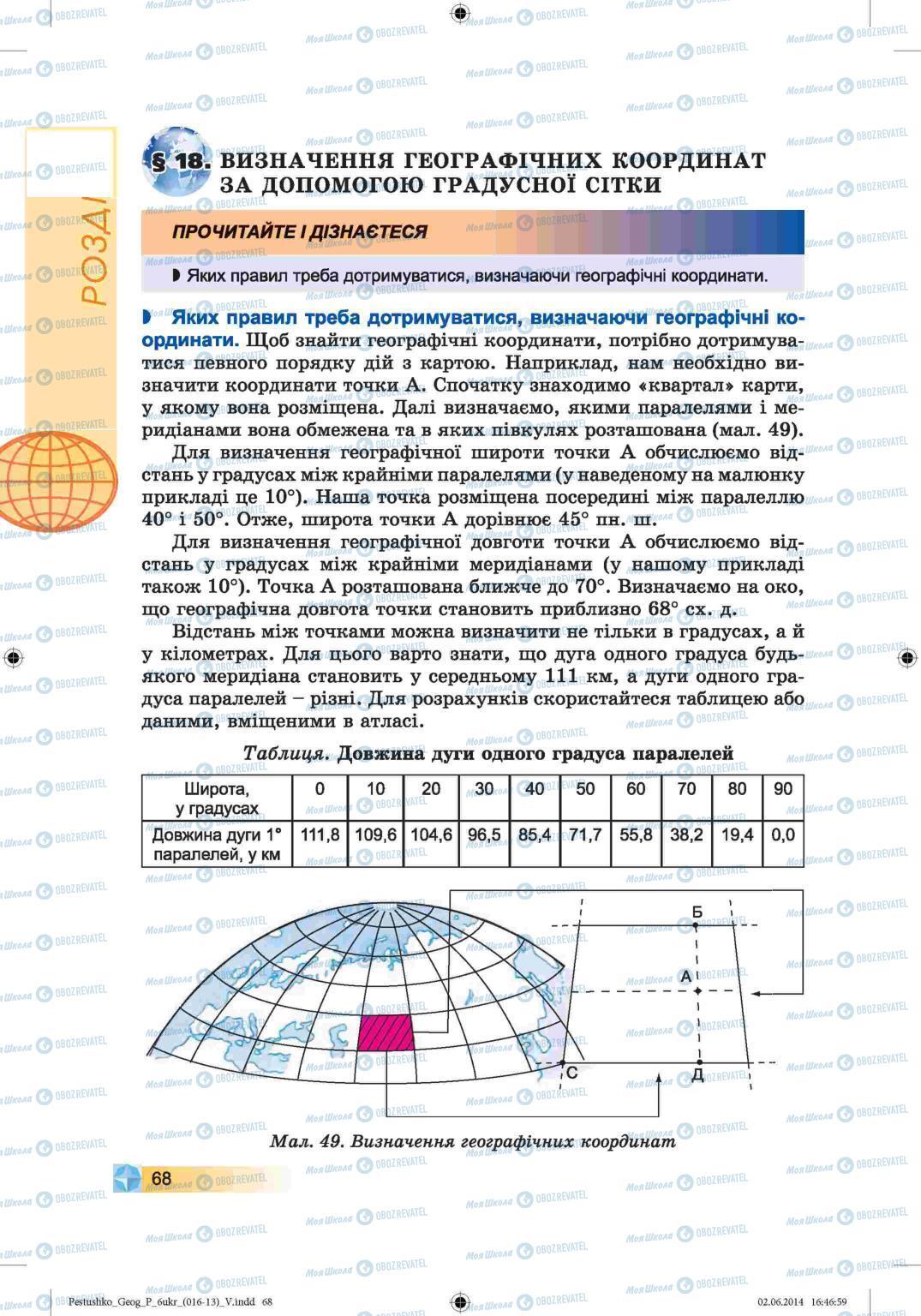 Підручники Географія 6 клас сторінка 68