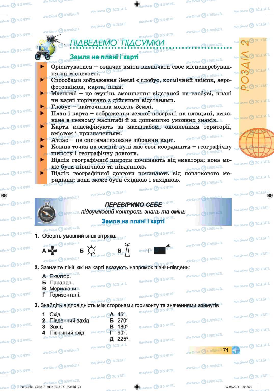Підручники Географія 6 клас сторінка 71