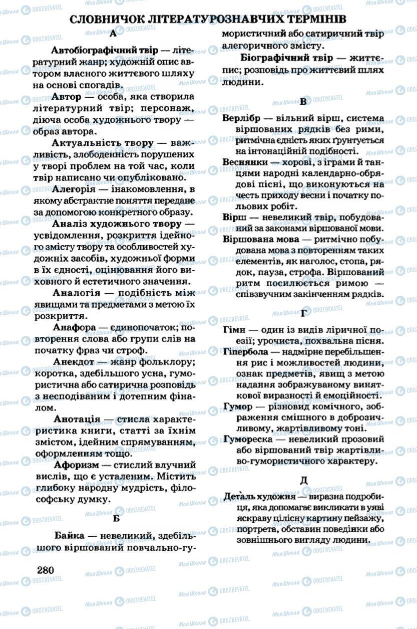 Підручники Українська література 6 клас сторінка 281