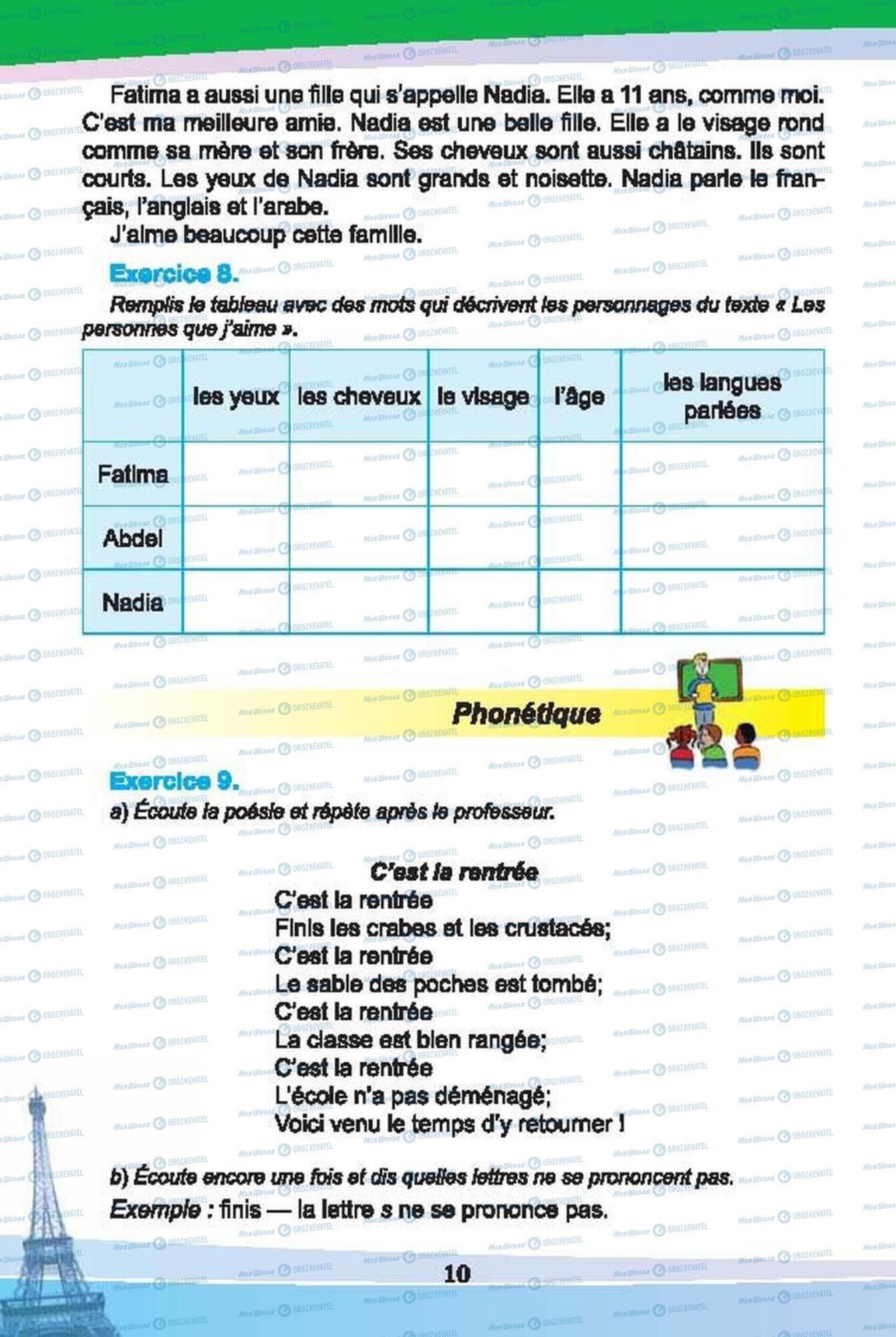 Підручники Французька мова 6 клас сторінка 10
