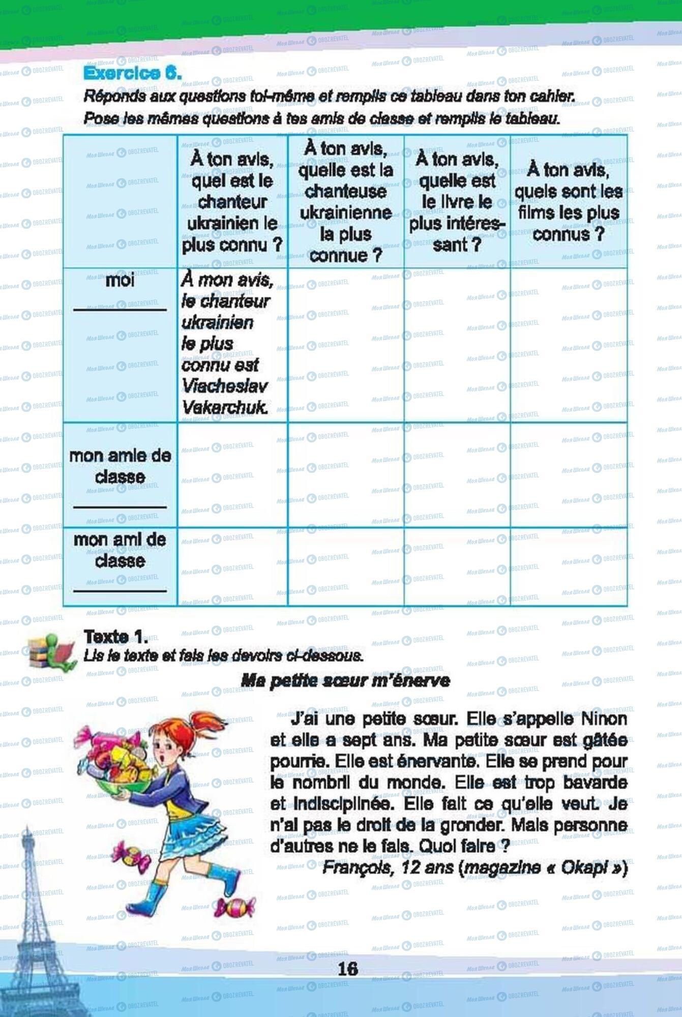 Підручники Французька мова 6 клас сторінка 16