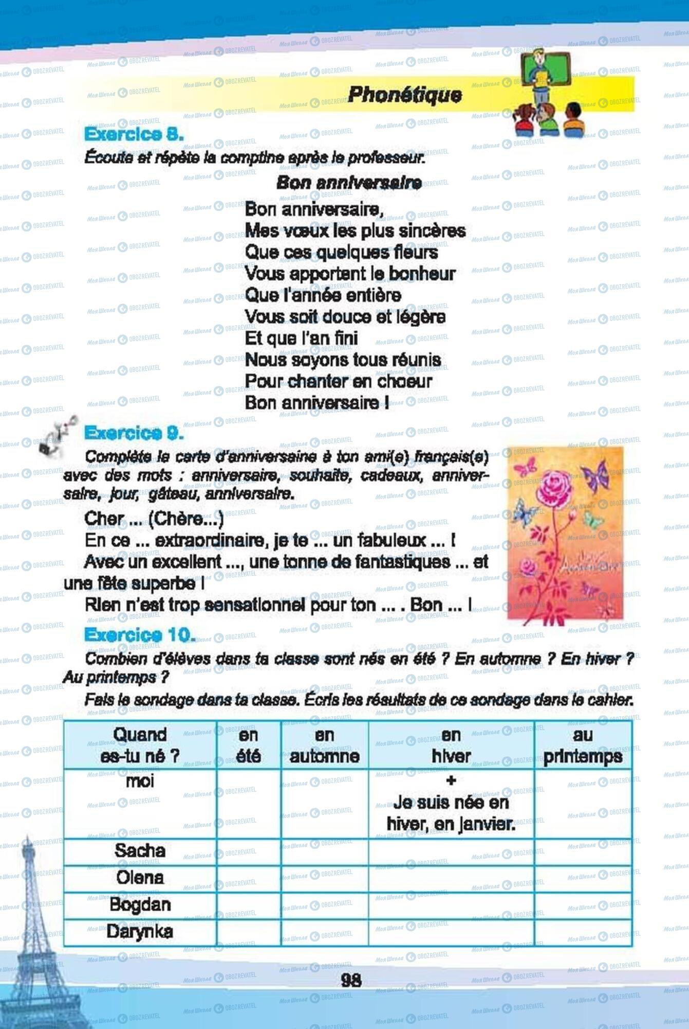 Підручники Французька мова 6 клас сторінка 98