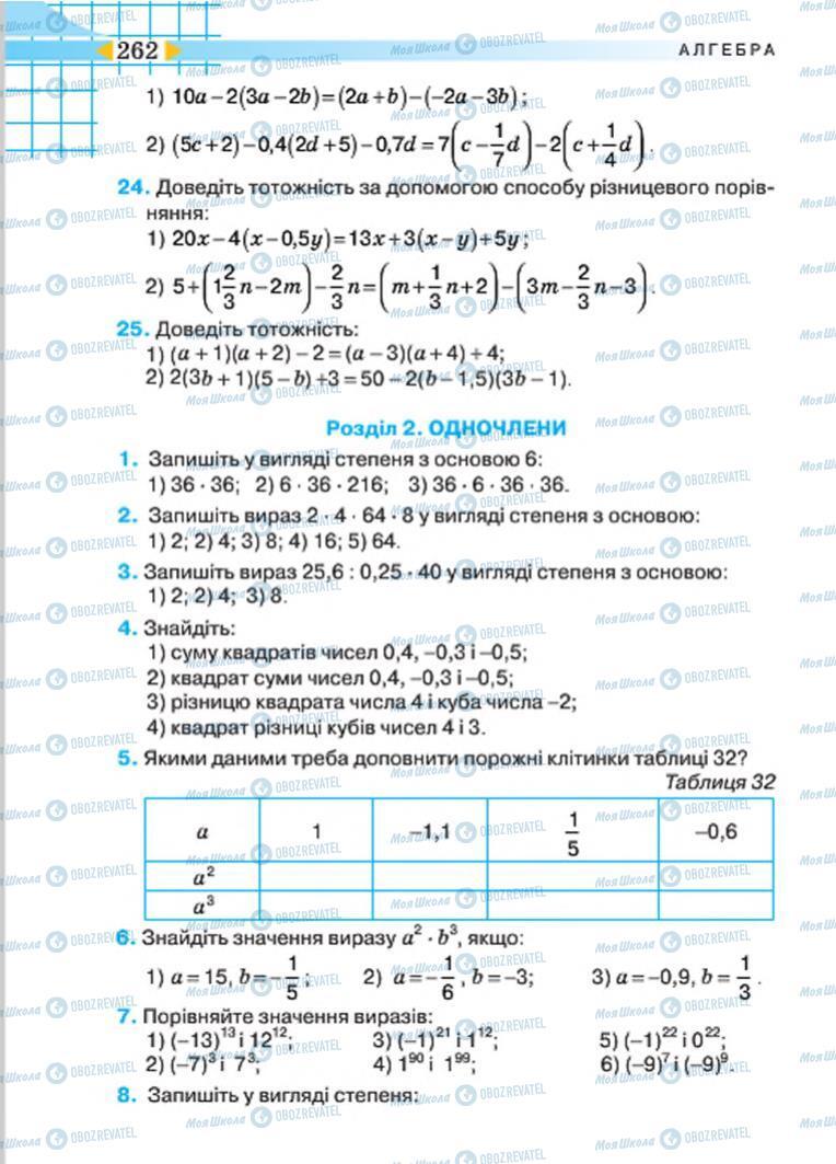 Підручники Алгебра 7 клас сторінка 262