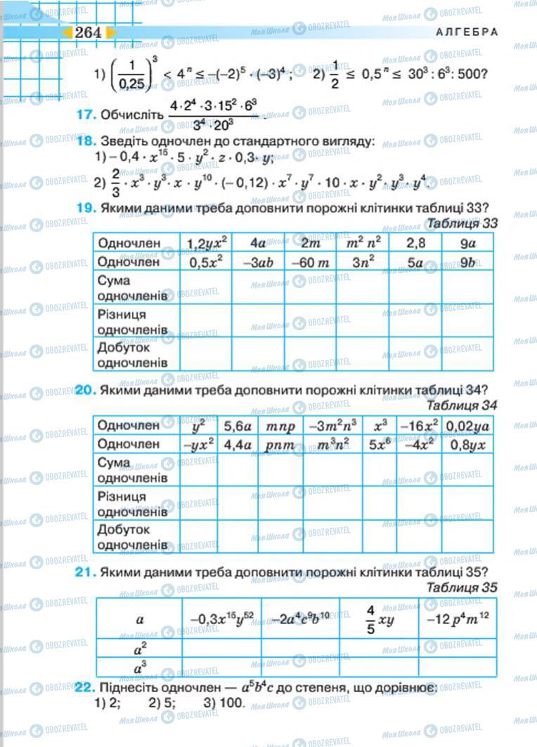 Учебники Алгебра 7 класс страница 264