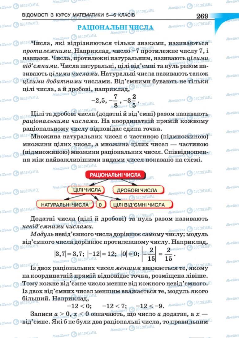 Підручники Алгебра 7 клас сторінка 269
