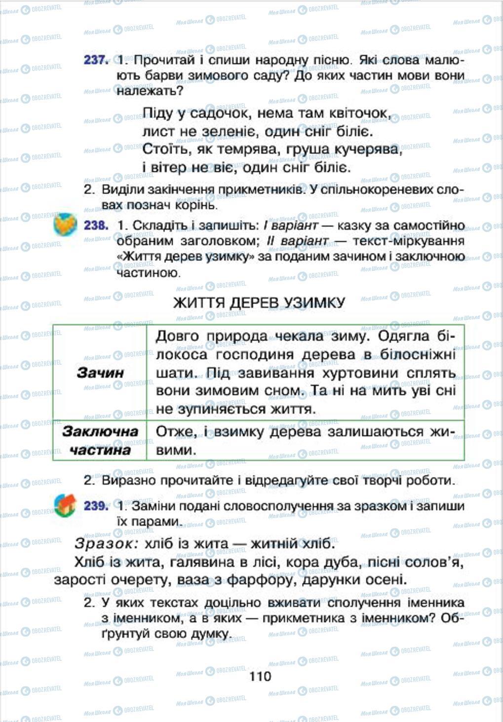 Підручники Українська мова 4 клас сторінка 110