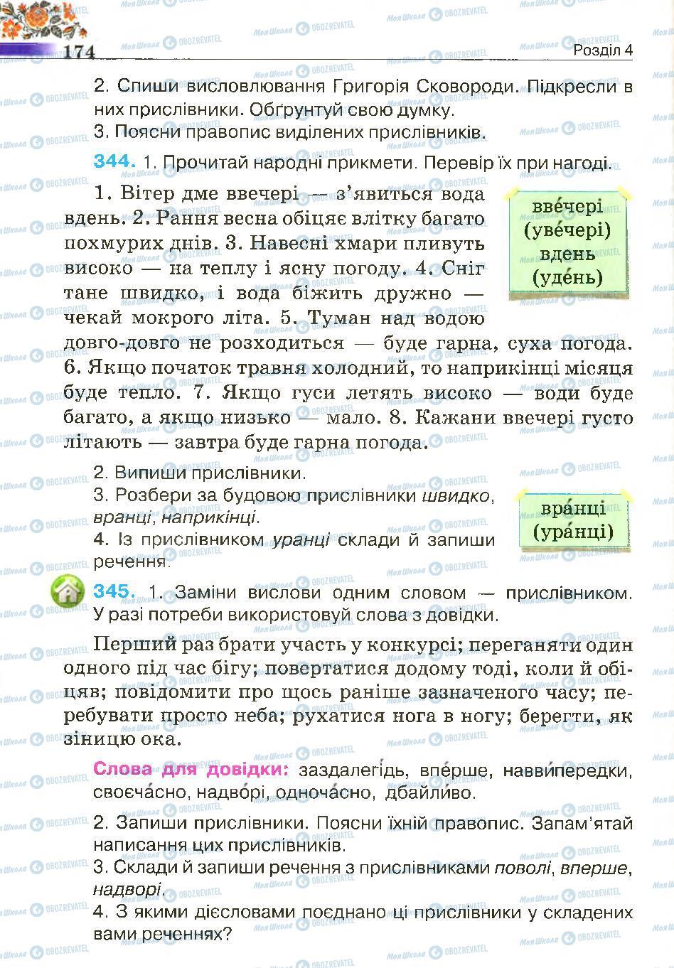 Підручники Українська мова 4 клас сторінка 174