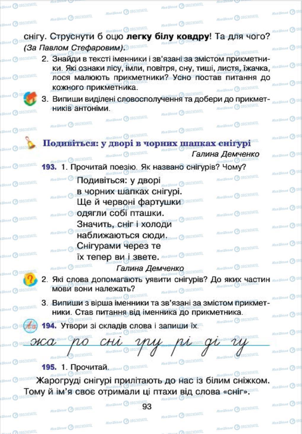 Підручники Українська мова 4 клас сторінка 93