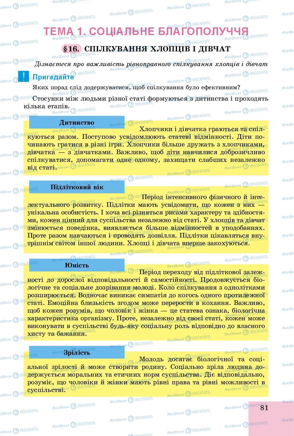 Підручники Основи здоров'я 8 клас сторінка  81