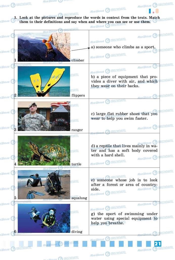Підручники Англійська мова 8 клас сторінка 21