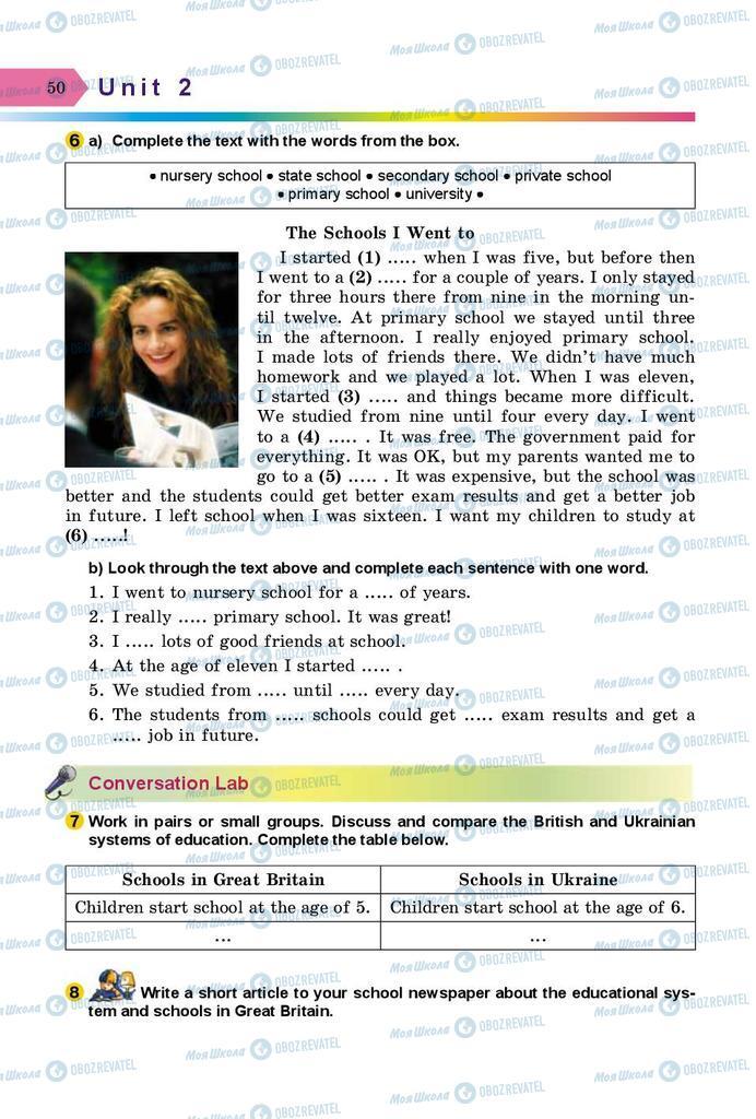 Підручники Англійська мова 8 клас сторінка 50