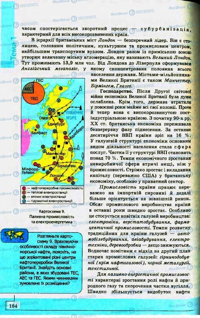 Підручники Географія 10 клас сторінка 164