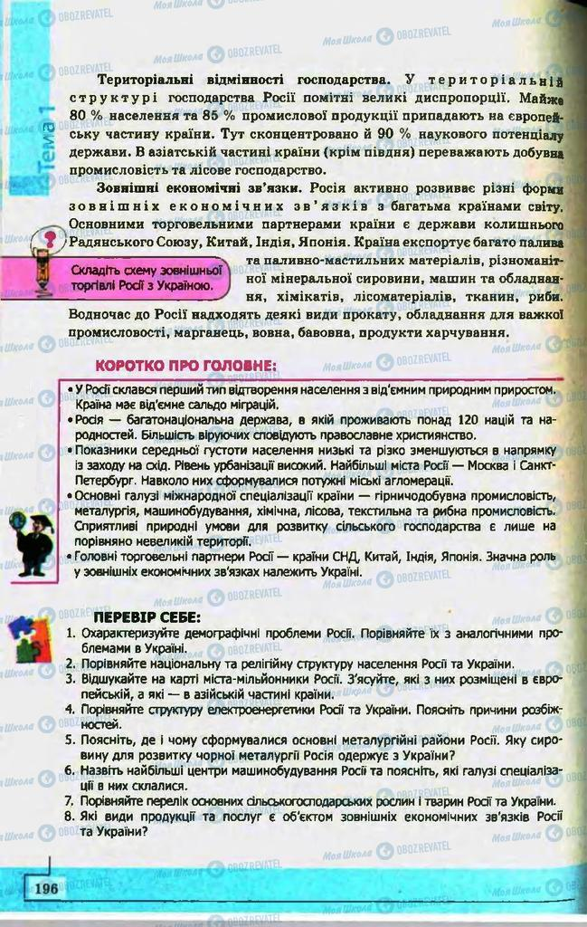 Підручники Географія 10 клас сторінка 196