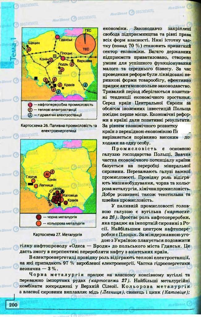 Підручники Географія 10 клас сторінка 200
