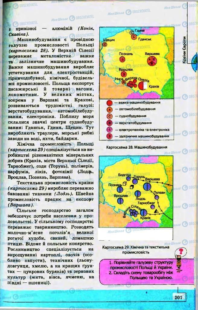 Підручники Географія 10 клас сторінка 201