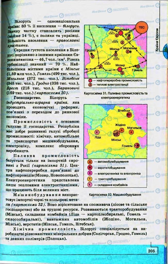Підручники Географія 10 клас сторінка 205