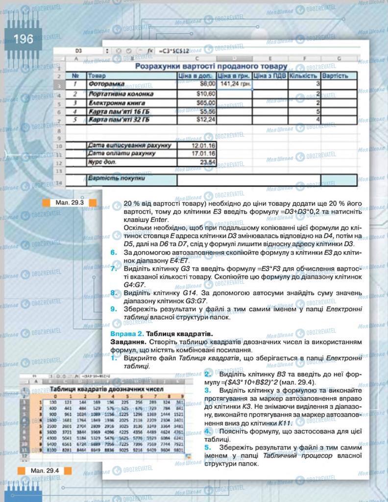 Підручники Інформатика 8 клас сторінка  196