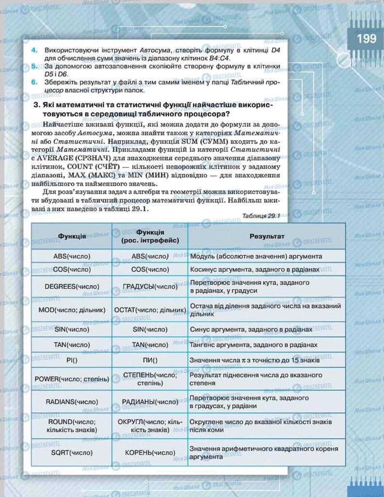 Підручники Інформатика 8 клас сторінка  199