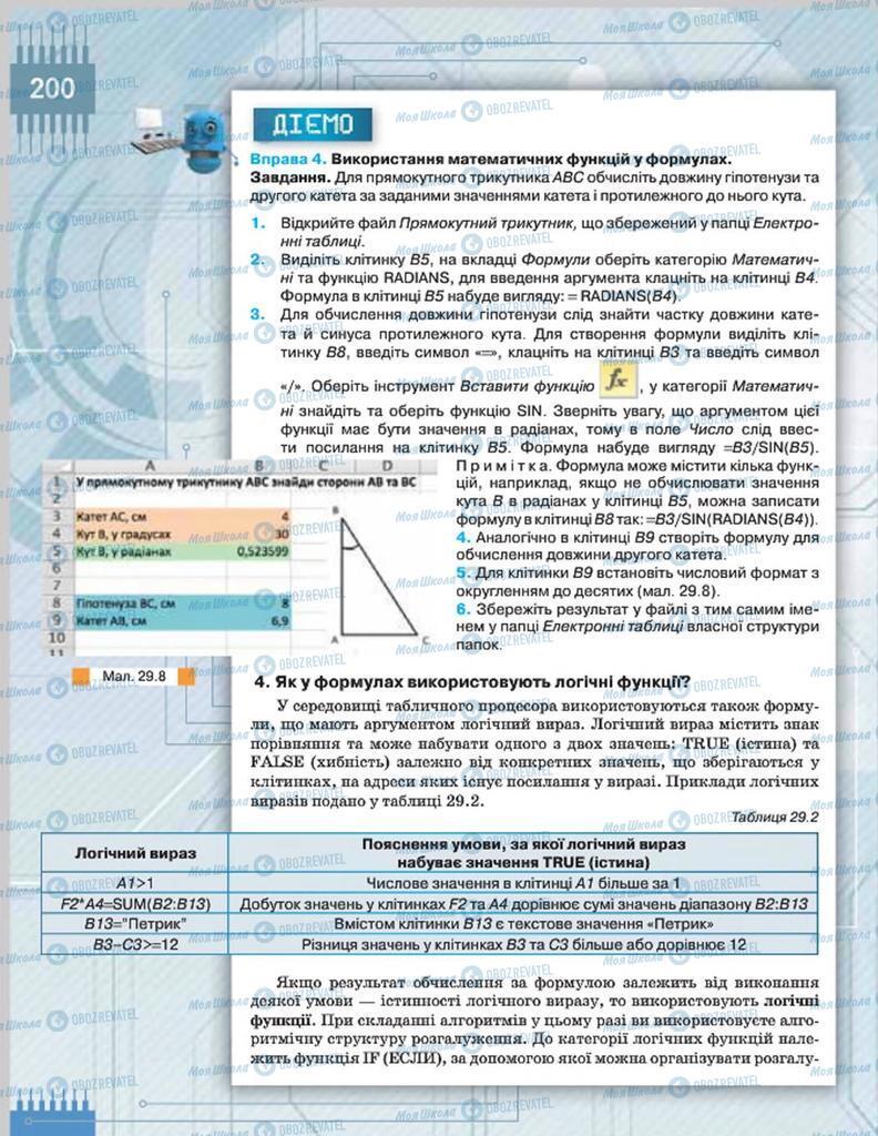Підручники Інформатика 8 клас сторінка  200