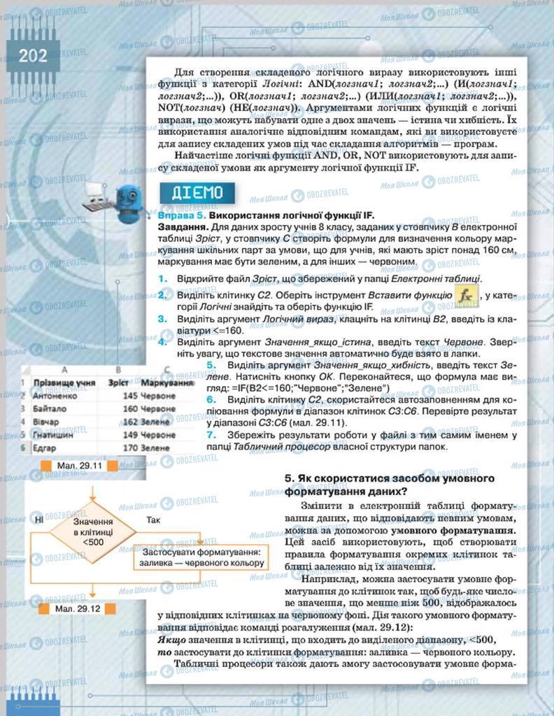 Підручники Інформатика 8 клас сторінка  202