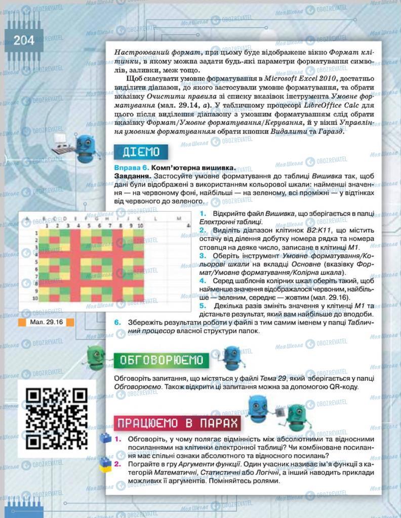 Підручники Інформатика 8 клас сторінка  204