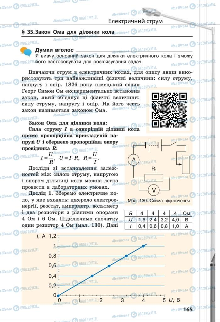Підручники Фізика 8 клас сторінка 165