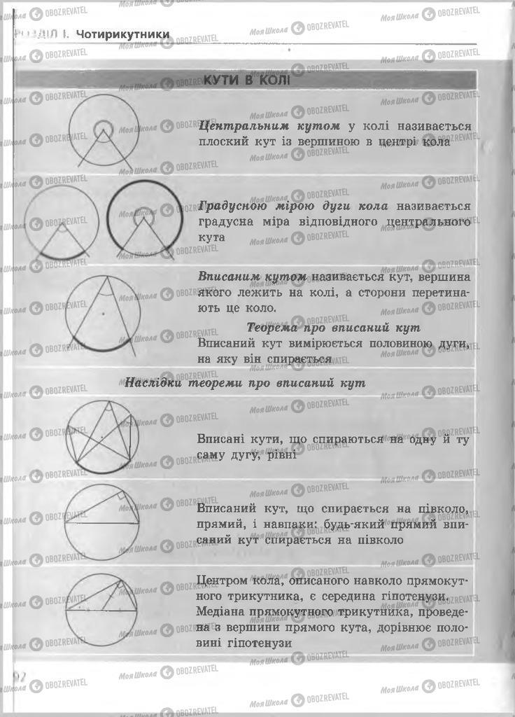 Підручники Геометрія 8 клас сторінка 92
