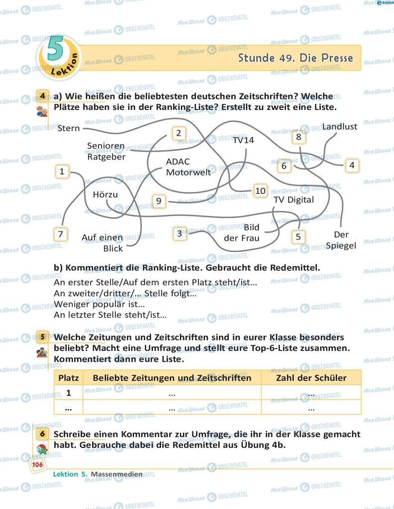Підручники Німецька мова 8 клас сторінка 106