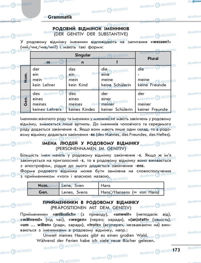 Підручники Німецька мова 8 клас сторінка  173