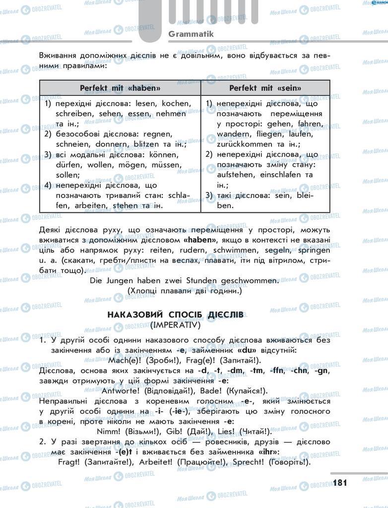Підручники Німецька мова 8 клас сторінка 181