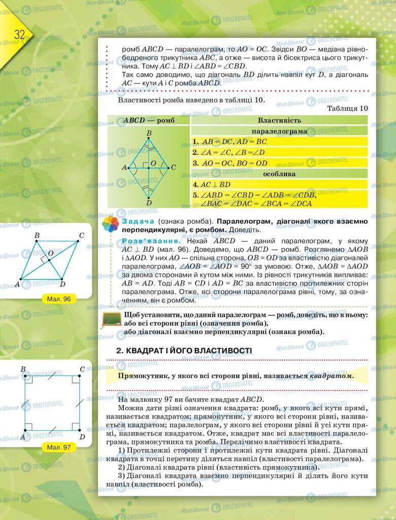 Підручники Геометрія 8 клас сторінка  32