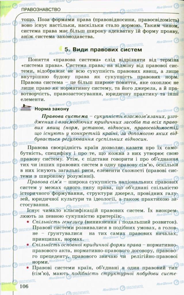 Підручники Правознавство 10 клас сторінка 106