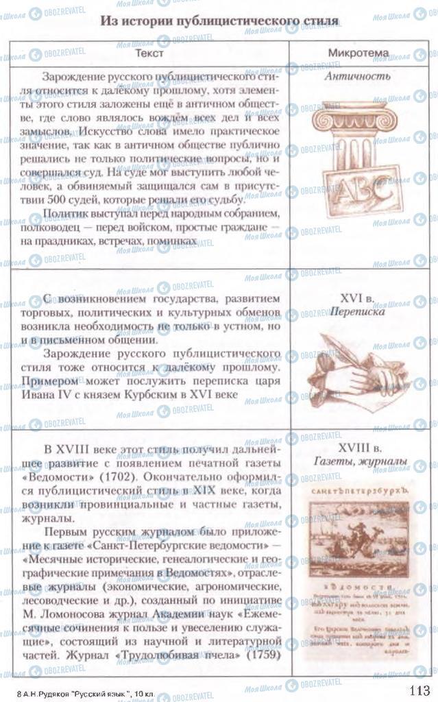 Підручники Російська мова 10 клас сторінка 113