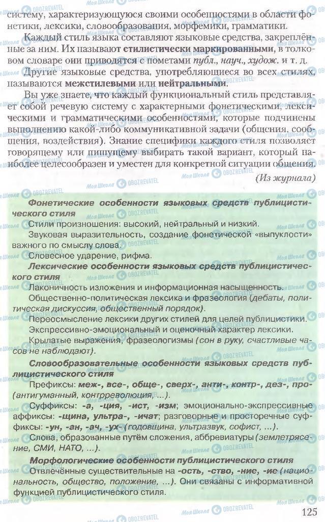 Підручники Російська мова 10 клас сторінка 125