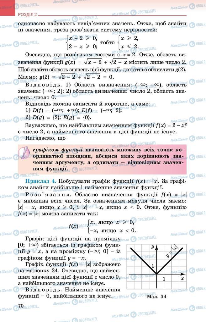 Підручники Алгебра 9 клас сторінка 70