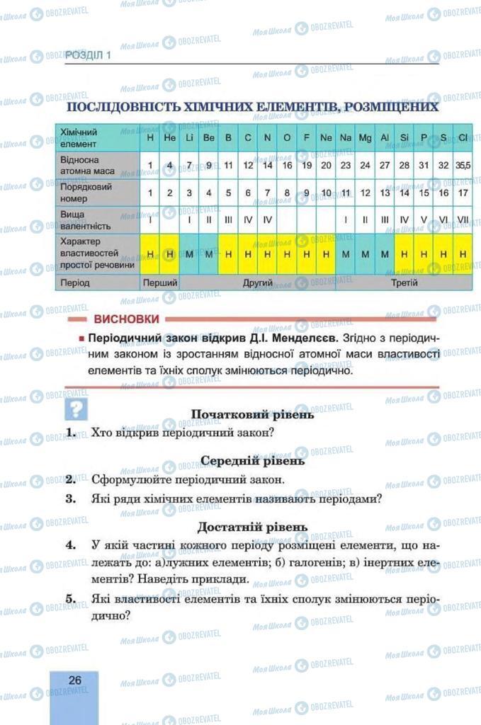 Учебники Химия 8 класс страница 26