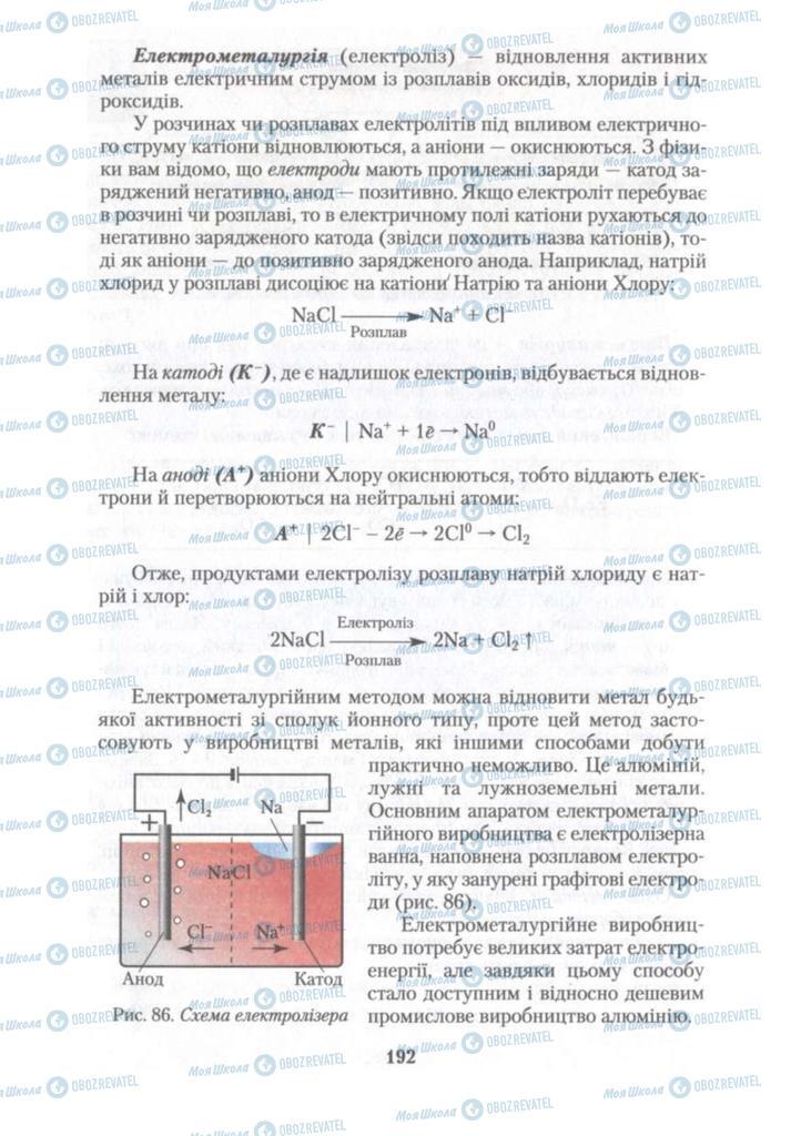 Підручники Хімія 10 клас сторінка 192