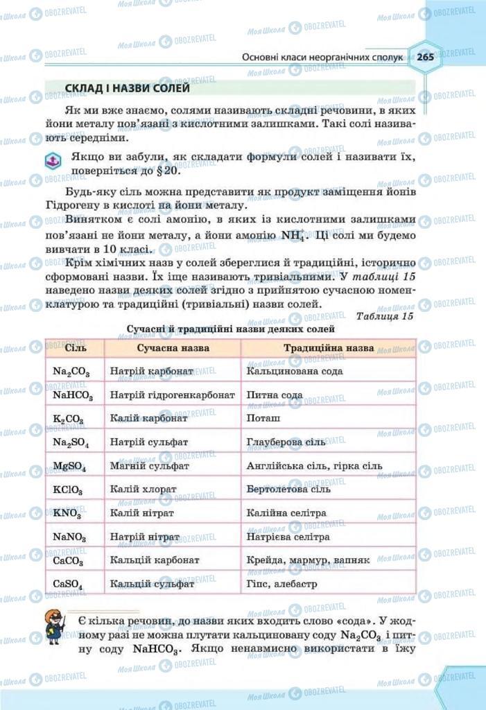 Підручники Хімія 8 клас сторінка 265