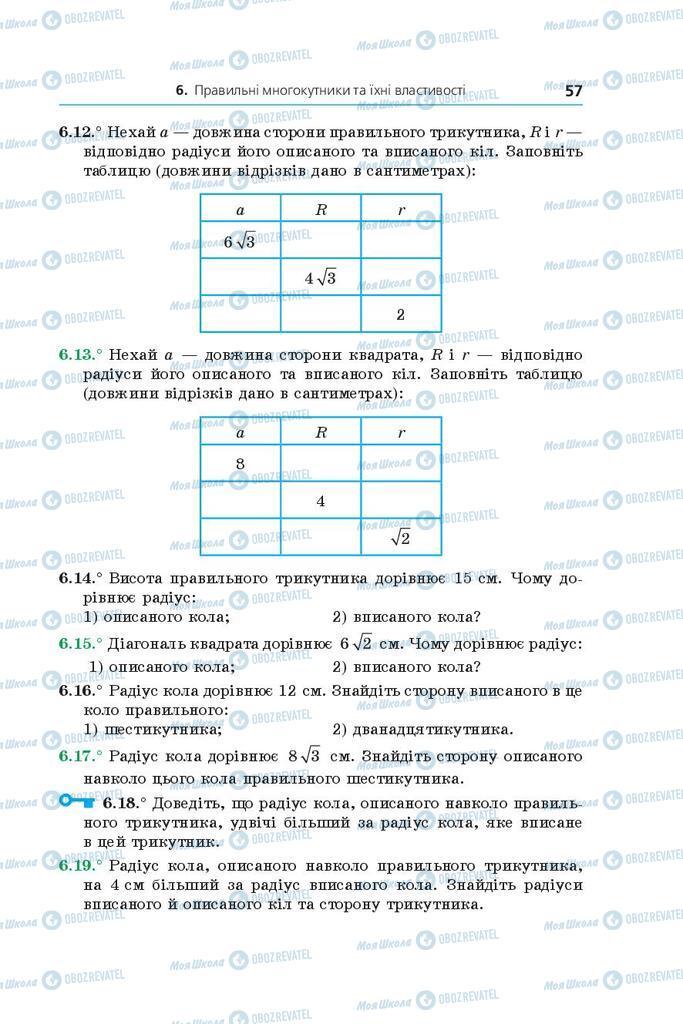 Підручники Геометрія 9 клас сторінка 57