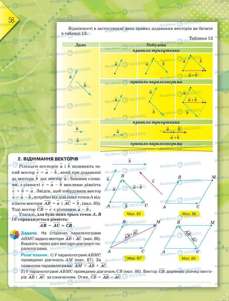 Підручники Геометрія 9 клас сторінка  58