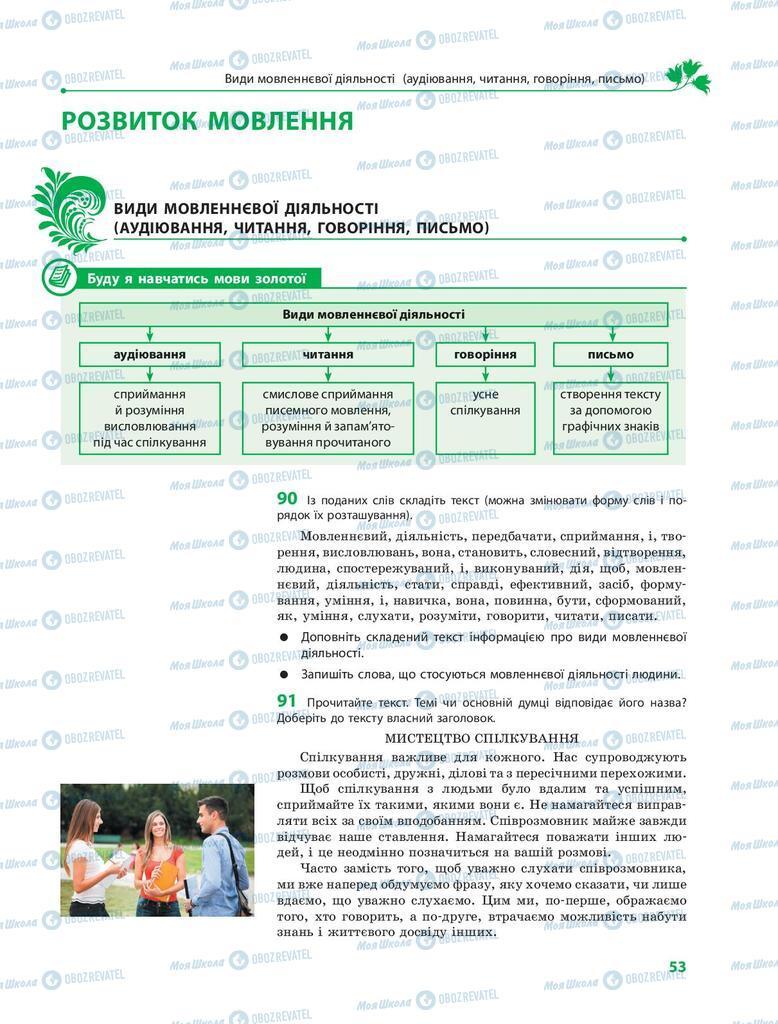 Підручники Українська мова 9 клас сторінка 53