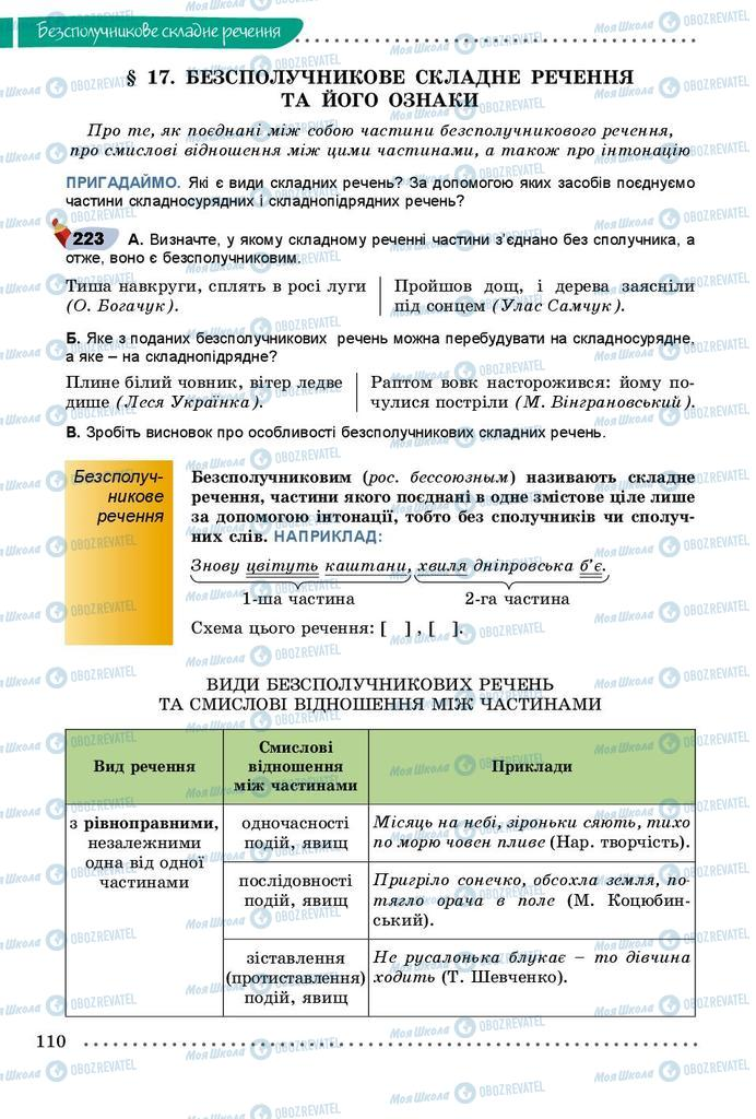 Підручники Українська мова 9 клас сторінка 110