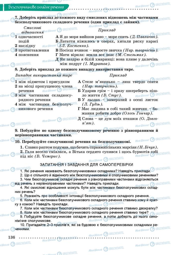 Учебники Укр мова 9 класс страница 136