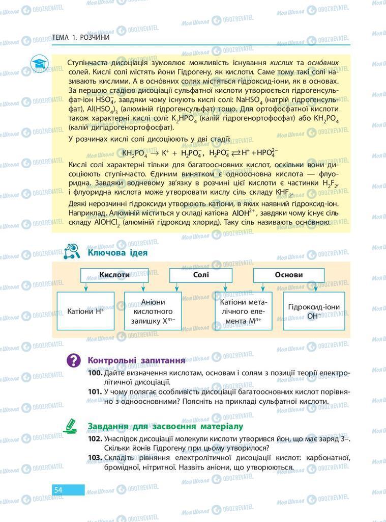 Підручники Хімія 9 клас сторінка 54