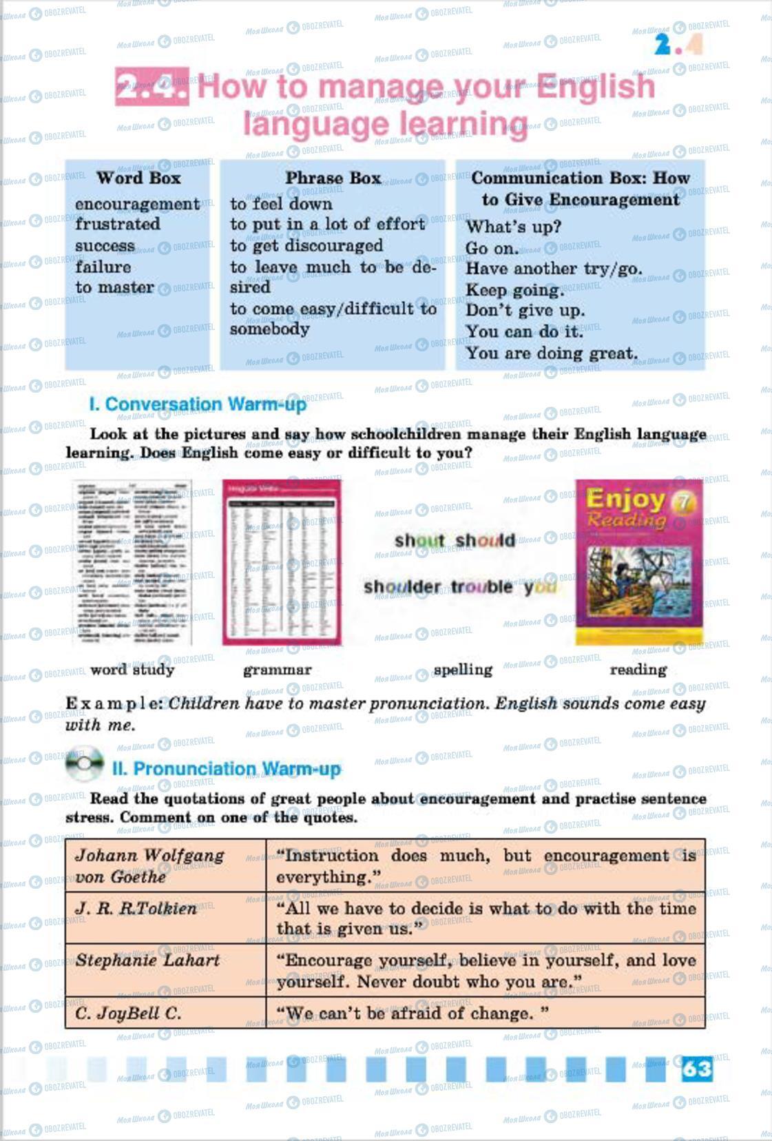 Підручники Англійська мова 7 клас сторінка 63