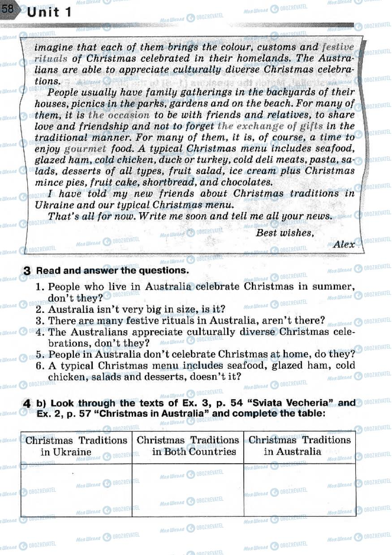 Підручники Англійська мова 7 клас сторінка 58